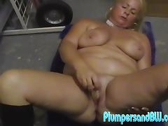 Chubby blonde milf Taylor Foxe kneads her tits and toys her meaty vag
