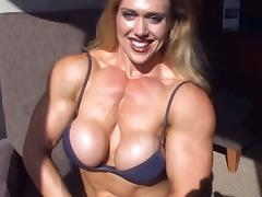 FBB with Big Tits and Pecs Flexes