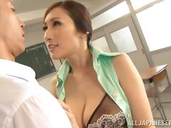 Super hot Japanese teacher is getting a huge one tube porn video