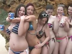 Six sexy and kinky belles start a wild beach orgy