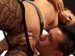 Bedroom, Bedroom, Blowjob, MMF, Pantyhose, Pornstar