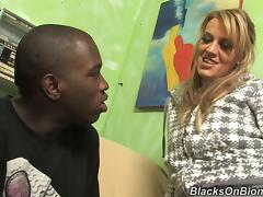 Blonde Girl's White Cunt Gets Hardcore Plowing By A Black Penis