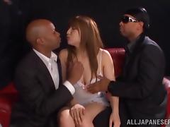 Asian hottie gets her mouth and pussy fucked hard by three black studs