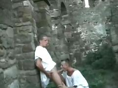 Three guys fuck each others asses in ancient ruins