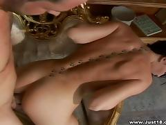 Belicia Steele sucks and rubs a prick and gets fucked in all positions