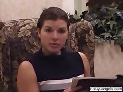 An amateur brunette babe sucks a dick in a POV video