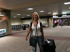 Sexy Anne shows her huge boobs  in an underground parking tube porn video