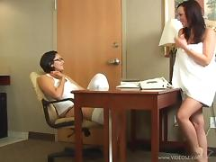 Two delicious brunettes are pleasing each other