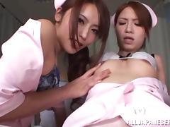 Two Japanese nurses fuck a man in the hospital ward