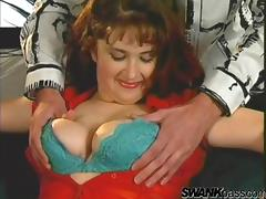A chubby MILF in stockings gets banged by a younger guy