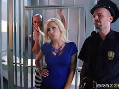Convict is fucking this busty blond siren Nina Elle
