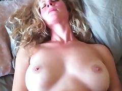 Amateur busty blonde milf is alone on bed