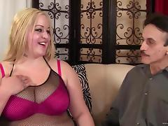 Fat lady in fishnet is getting pinned hard