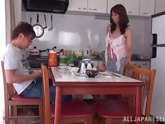 Mature Shiori Ihara gets her bald pussy fucked in a kitchen