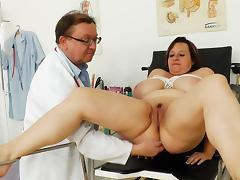 Pissing, Big Tits, Brunette, Couple, Doctor, Gloves