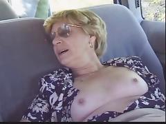 Blonde Granny Patrica Gets Fucked in the Back Seat porn tube video