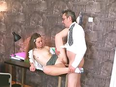 Sexy brunette Sara is banging with her father