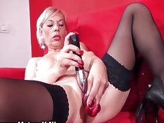 Dirty old slut gets all horny playing