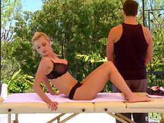 An intense fuck for Jessie Rogers after an oil massage tube porn video