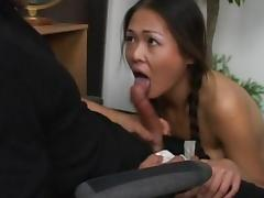 Sexy Asian chick is fucking in the classroom