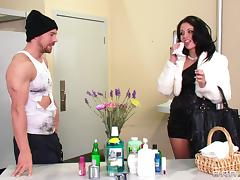 Madelyn Monroe is fucked in a restroom by a horny hobo tube porn video