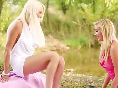 Jese Jazz And Holly L Have Lesbian Sex Outdoors Under The Trees
