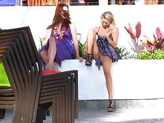 Melody and Lena Hawaii show their pussies in a public place