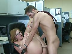 Office, Blonde, Glasses, MILF, Office, Riding