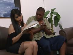 Lusty Asian milf is going to ride a huge black dagger