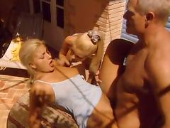 Grandpa fucks two hot blondes