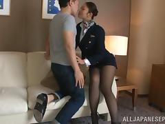 Hot stewardess is an Asian doll in high heels tube porn video