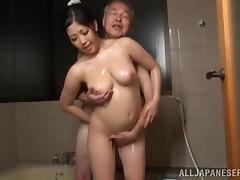 Stunning Brunette Goes Hardcore With An Older Asian Dude