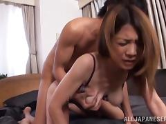 A sexy Japanese girl sucks a dick nicely and gets fucked rough