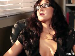 Busty brunette teacher Diana Prince gets fucked in all poses at work porn tube video