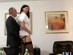 Mature whore in stockings fucks a mature businessman