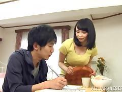 Japanese Brunette Giving A Superb Titjob As She Licks Cock