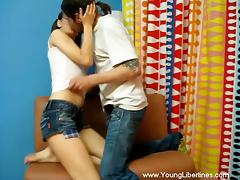 Slim Karen gets her teen pussy fucked rough by her BF