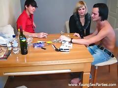 Amateur MMF threesome sex scene with Masha, Victor and Gary