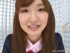A cute Japanese teen in a uniform gets fucked gently