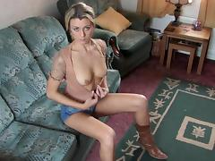 Sexy blonde abbi shows off her natural boobies