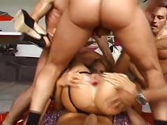 Lustful blonde fucked by a bunch of men