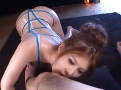 Sexy Eri Hosaka Sucks On A Bushy Penis And Swallows Cum