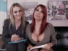 Natasha Starr and Ava Devine seduce a guy and fuck him in FFM clip