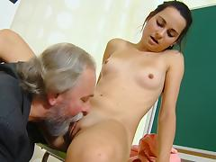 Old man is fucking with nice brunette Lora