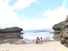 Beach, Asian, Beach, Bikini, Blowjob, Boobs