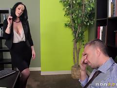 Jayden Jaymes is fucked silly by a guy until he cums on her tits