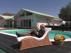 Sexy, Blonde Pornstar Enjoying A Hardcore Fuck Next To Her Swimming Pool