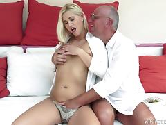 Captivating blonde sweetie gets hammered by old fart tube porn video