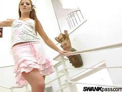Horny Hottie with Long Hair Deepthroats and Fucks on the Stairs