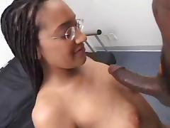 Tall Nerdy Redbone in Braids Sucks on Her Knees tube porn video